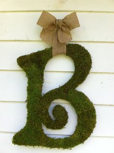 """12"""" Moss Letter  - Any Letter A - Z - Monogram - Home Decor - Rustic Wedding - One of a kind"""