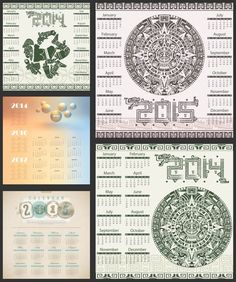 Set of 5 vector ethnic Mayan style 2015, 2016, 2017 calendar templates with some Mayan ornaments.