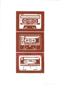 Cassettes Lino Print by Lauren Kelly