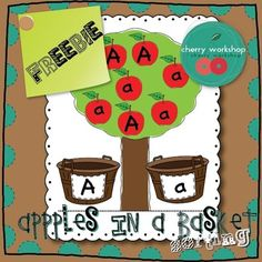 Letter sorting freebie. A is for apple. Sort capital and small letters.