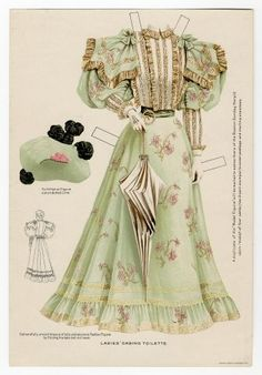 Бумажные куклы, ретро Выход в казино-1895