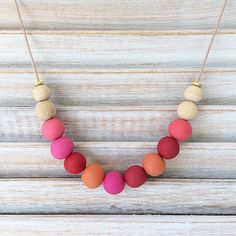 Multi coloured bead necklace, polymer clay necklace, statement necklace handmade by rubybluejewels Polymer Clay Necklace, Polymer Clay Beads, Handmade Necklaces, Happy Shopping, Beaded Necklace, Coral, Polymers, Beautiful, Etsy