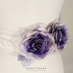 Blue Purple Wedding Dress Sash Flowers, Custom Color Bridal Sash, Bridal Gown Sash Flower with Pure Silk and Freshwater Pearls. $149.00, via Etsy.