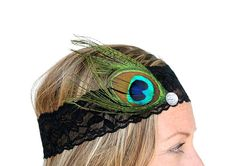 Peacock Feather Accent on Black Stretch Lace Headband by RuralHaze, $11.99