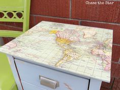 Updating a nightstand with a map and Mod Podge.  Tutorial by Chase The Star.  What a wonderful inspiration!  I'd love to do one with an image of butterflies instead of a map. What would you use?