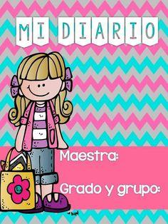 Diario English Classes For Kids, School Binder Covers, Back To School Clipart, Classroom Clipart, Teacher Planner, School Items, Teaching Activities, Teacher Hacks, Pre School