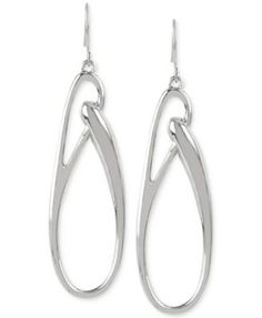 Kenneth Cole Silver-Tone Oval Link Drop Earrings