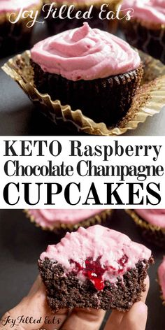 Chocolate Champagne Cupcakes with Raspberry Icing are perfect for New Year's Eve or any other special occasion. There is a hint of champagne in these classic chocolate raspberry cupcakes, just enough to make them extraordinary. #lowcarb #keto #sugarfree #grainfree #glutenfree #cupcakes #champagne #chocolate