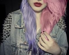 pastel hair and a studded jacket