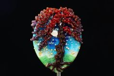 Autumn Maple Tree on a Starry Night, Large Handmade Lampwork Moretti Glass Pendant, Red, Orange, Yellow, Green, Purple and Silver
