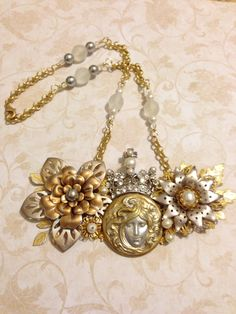 """Winter Fantasy December Challenge """"Snow Queen"""" Necklace. Made with B'sue boutique stampings, rhinestone and pearl crown, rolo chain, grey and white glass pearls and Czech AB crystals."""