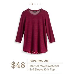 Stitch Fix: Papermoon Marisol Mixed Material 3/4 Sleeve Knit Top - cute polka dots and named after my daughter ❤️