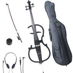 Cecilio 4/4 CECO-2BK Black Metallic Electric Cello with Ebony Fittings in Style 2 (Full Size)