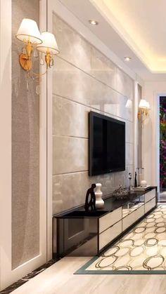 luxury furniture and lighting -Jade Ant Living Room Tv Unit Designs, Ceiling Design Living Room, Home Room Design, Bedroom Tv Unit Design, Living Room Decor Tv, Modern Luxury Bedroom, Luxurious Bedrooms, Modern Tv Room, Modern Tv Wall Units