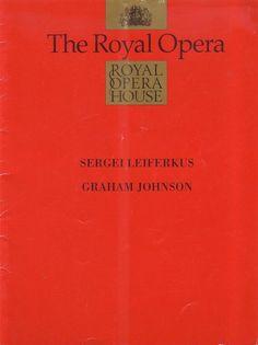 Sergei Leiferkus & Graham Johnson Royal Opera House Theatre Programme Jan 1991