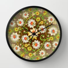 #decoupage #flowers #floral #yellow #white #woman #girly #pretty #shabby #wallclock available in different #homedecor products. Check more at society6.com/julianarw