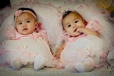 Flower Girl Dresses - cute baby twin girls and their frilly dresses :)
