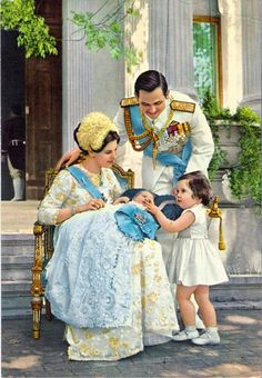King Constantine and Queen Anne-Marie with Alexia and infant Pavlos.