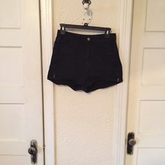 American Apparel high waisted zipper shorts Great condition black American apparel shorts! Size 26/27, so can fit both! Soft & comfortable material makes these shorts perfect for summer! Love them just don't fit me correctly anymore. American Apparel Shorts Jean Shorts