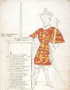 Coloured drawing of King John in Sir Thomas Holme's Book of Arms: England, c.1445-1450 (London, British Library, MS. Harley 4205, f. 4r).