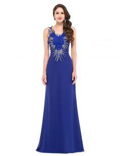 efe2b614b85 Grace Karin Sleeveless blue long Evening Dress