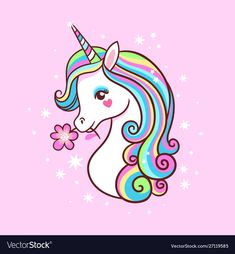 Buy Unicorn on a Pink Background with Stars by svaga on GraphicRiver. Unicorn on a pink background with stars. Postcard with milvm mythical animals. Unicorn Painting, Unicorn Drawing, Cartoon Unicorn, Unicorn Cat, Cute Unicorn, Unicornios Wallpaper, Unicorn Pictures, Color Vector, Kawaii Drawings