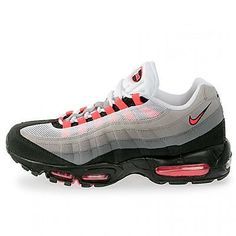 NIKE Air Max '95 Mens 609048-106 Grey Solar Red Athletic Running Shoes Size 9