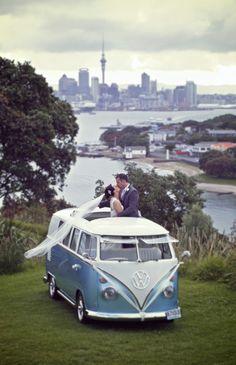 Split Screen vw Bus bride and groom