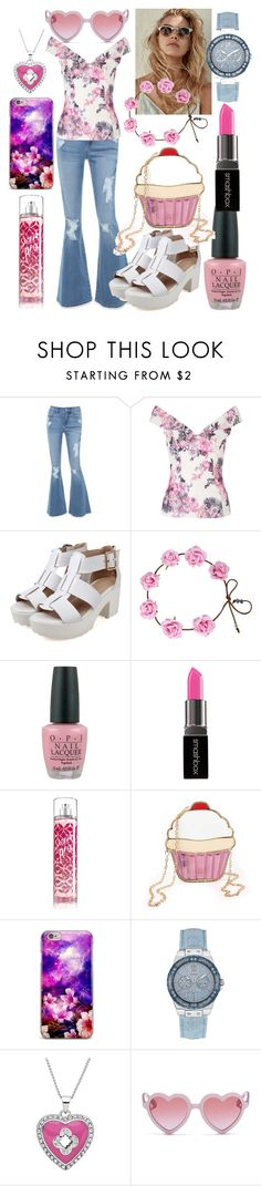 """Back to summer"" by ingridmv ❤ liked on Polyvore featuring Bebe, OPI, Smashbox, GUESS, Marie Claire, Sons + Daughters, Summer, cute and Pink"
