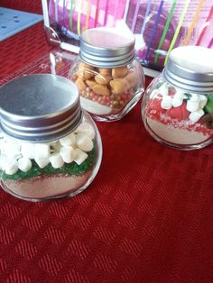 Hot cocoa jars! There are so many diff ways to make this! I used hot cocoa in the front two amd apple cide in the back. Mix and match different powder drinks, sprinkles, and chocolate chips for fun creation of your own!