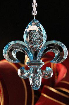 Waterford 2013 Fleur de Lys Ornament - Aquamarine