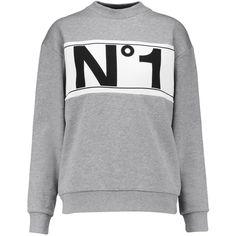 Etre Cecile - Printed Cotton Sweatshirt ($75) ❤ liked on Polyvore featuring tops, hoodies, sweatshirts, grey, gray top, grey sweatshirt, grey top, slogan sweatshirts and animal print sweatshirt