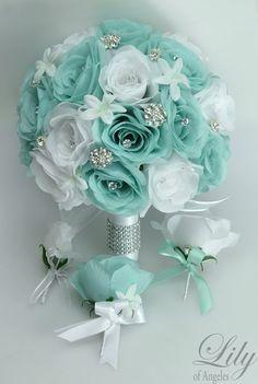 Bridal Bouquet Wedding 17 Piece Package Silk Flowers Bouquets