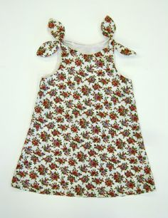 Cream Tearoses Tie Top Dress, £12.00  Handmade - can be made to order in different sizes/fabrics!