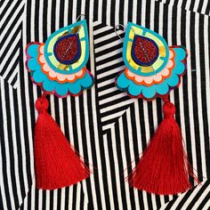 Extremely light weight, bright and bold, OVERSIZE STATEMENT TASSEL EARRINGS.... on that motion sickness inducing backdrop (sorry) Reuse Recycle, Recycling, Textile Jewelry, Jewellery, Turquoise Tassel Earrings, Motion Sickness, Recycled Fabric, Red Gold, Statement Earrings