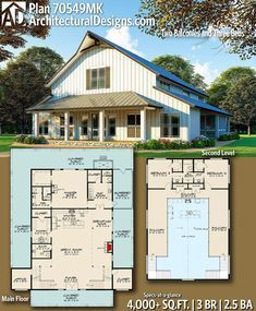 Plan Barndominium Inspired Country House Plan with Two Balconies Needs office room to be bigger and add a shower to bathroom to make it a guest room. Master needs a tub (shrink the closet? Barn Homes Floor Plans, Metal Barn Homes, Barndominium Floor Plans, Pole Barn House Plans, Metal Building Homes, Pole Barn Homes, Shop House Plans, House Floor Plans, Building A House