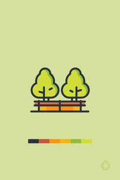 Flat Design, Logo Design, Outline Illustration, Park City, Ecology, Icon Set, Symbols, Make It Yourself, Check