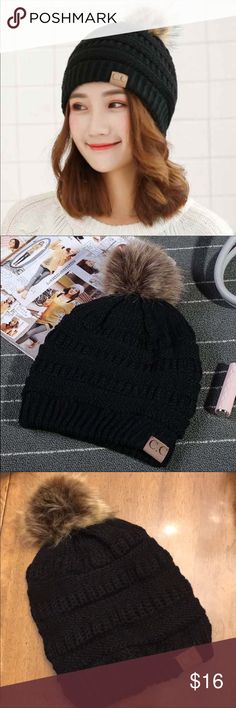 79f8c0f0c4b CC Pom Pom Beanie Fur Lined In Black CC Pom Pom beanie in black. One