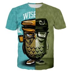 Two Sided Owl Prints T-shirt. 100% Cotton and Polyester blend, custom made sublimation printed technique and hand sewn hoodies, t-shirts, and long sleeves clothing.   For our 3D clothing, unless there is a picture on the back for our product images, all of our 3D clothing are printed front and back with the same image.                 FREE Shipping  NOT SOLD IN STORES          Gender: Unisex  Material: Cotton, Polyester Spandex Blend Machine Washable and Dryer Safe     Be...