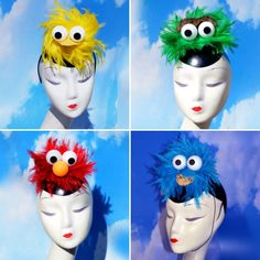 You get two, three or four of the Sesame Street Headpiece & Fascinator (Big Bird, Cookie Monster, Elmo, Oscar the Grouch) for a very special price! Boxing Halloween Costume, Halloween 2017, Halloween Party, Sesame Street Costumes, Sesame Street Party, Homemade Costumes, Diy Costumes, Costume Ideas, Fascinator