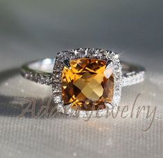 White Gold Cushion Cut Citrine Smokey Topaz Promise Engagement Ring Size 7.25 Beautiful In Colour Jewelry & Watches