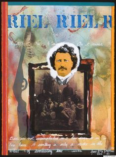 Fort Chipewyan Cree artist Jane Ash Poitras is known for her collage-like technique, which incorporates photos. Here, she pays tribute to Louis Riel, founder of the Metis and the province of Manitoba, by using a photo of the historical rebel leader and another of his provisional government. There is also a rifle with a feather at the mouth of its barrel, symbolizing a conflict that was meant to be carried out peacefully.
