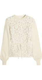 Chloé Floral-lace and wool-blend sweater