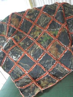 rag quilt camo | Mossy Oak Breakup Camo and Orange Rag Quilt by VanDuren on Etsy