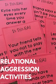 Relational Aggression lesson for elementary and middle school students. Help your students navigate girl bullying and relational aggression with this fun activity pack! Middle School Counseling, Elementary School Counselor, Elementary Schools, Bullying Activities, Counseling Activities, Bullying Lessons, Group Counseling, Therapy Activities, Friendship Activities