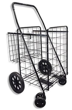 SCF Double Basket Black Folding Utility Cart Fold Up Rolling Storage Shopping Carrier, Red Folding Shopping Cart, Folding Cart, Shopping Carts, Shopping Center, Rolling Utility Cart, Rolling Storage, Grocery Basket, Laundry Cart, Laundry Room
