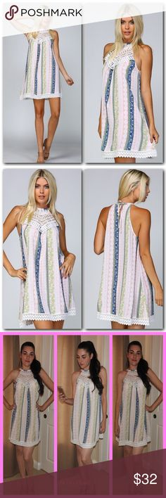"""Appliqué Crested A Line Dress The perfect lightweight dress for beating the summer heat.  ⭐️Woven Sleeveless A Line Dress ⭐️All Over Stripe/ Floral Print ⭐️Cotton Appliqué at Chest ⭐️Cotton Lace Trimming at Hem ⭐️Split at Back Neckline ⭐️Cord Tie at Back Neck ⭐️100% Polyester  ⭐️This is a thinner lightweight style, meant to be worn with lighter undergarments as dark colors will show through. Trades/ PayPal or Mercari *️⃣Price Firm Unless Bundled  *️⃣(If """"applicable""""this item includes sales…"""