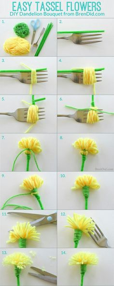 How to make tassel flowers - Make an easy DIY dandelion bouquest with yarn and pipe cleaners to delight someone you love. Perfect for weddings, parties and Mother's Day. patricks day diy crafts Easy Tassel Flowers: DIY Dandelion Bouquet - Bren Did Flower Crafts, Diy Flowers, Crochet Flowers, Fabric Flowers, Paper Flowers, Flower Diy, Pom Pom Flowers, Crafts With Flowers, Flower Making Crafts