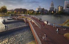 The fate of a long-delayed pedestrian bridge across the Providence River is back…