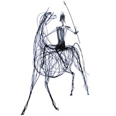 """Unique Wire Sculpture of Horse and RIder """"Don Quixote"""""""